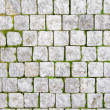 Stone pavement with green grass - Stock Photo