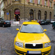 Stock Photo: Yellow taxi wide angle view