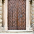 Old medieval door front view - Stock Photo