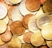 Glittering euro cent coins — Stock Photo