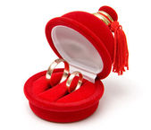 Two wedding rings in box — Stock Photo