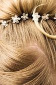 Woman hair with hair-pins — Stock Photo