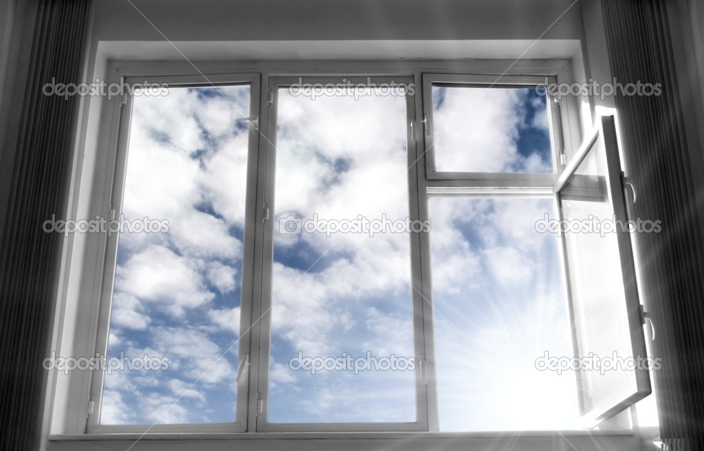 Wide open window. B/w frame, blue sky and bright sunlight. Concept image. — ストック写真 #1676010