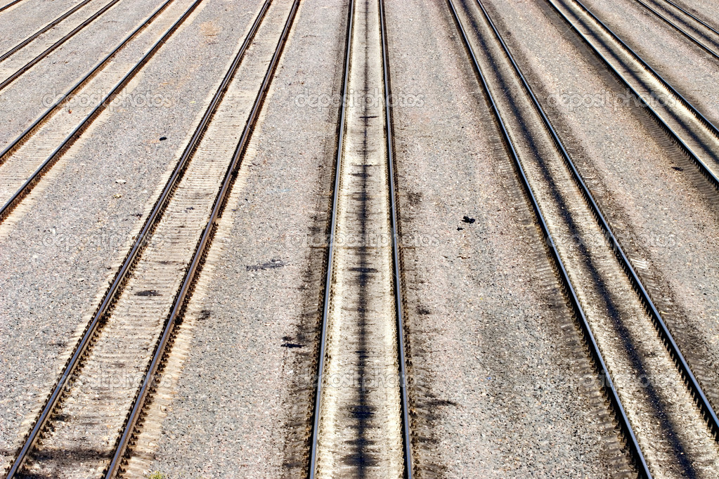 Big empty railroad. Perspective view. — Stock Photo #1676203