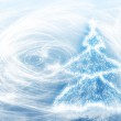 New years tree and blizzard — Stock Photo