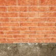 Brick wall with ground perspective view - Stock Photo