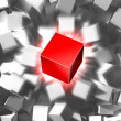 Red cube and quantity of grey cubes - Stock Photo