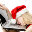 Tired woman on laptop — Stock Photo #1696084