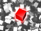 Red cube and quantity of grey cubes — Stock Photo