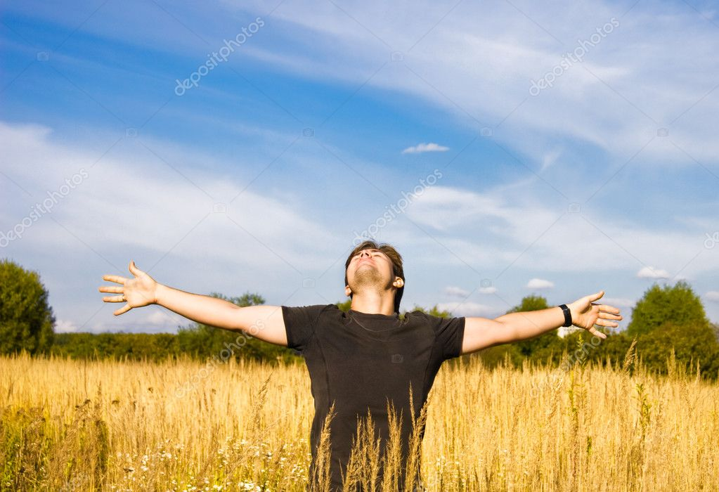 Young man enjoying the nature.  Stock Photo #1695968