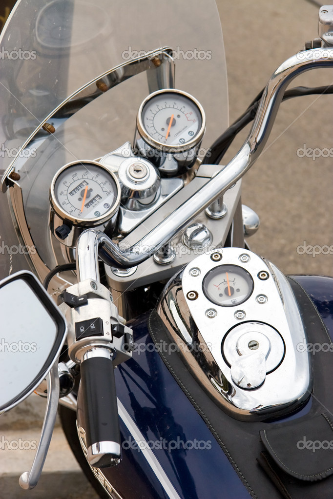 Motorcycle closeup view. Chrome parts.  Stock Photo #1696007