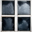 Window frame with frozen glass - Stock Photo