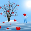 Winter tree with hearts — Stock fotografie