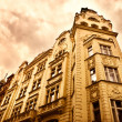 Old building in red dramatic colors — Stock Photo