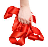 Strong woman hand with ribbon — Stock Photo