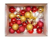 Pudełko z nowego roku i ozdoby choinkowe — Zdjęcie stockowe