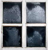 Window frame with frozen glass — Stockfoto