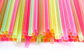 Multicolored plastic tubes for drink — Stock Photo