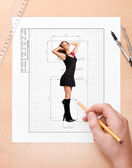 Drawing ideal girl — Stock Photo