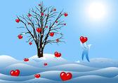 Winter tree with hearts — Stock Photo