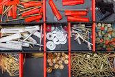 Secciones con objetos pequeños de construcción. — Foto de Stock