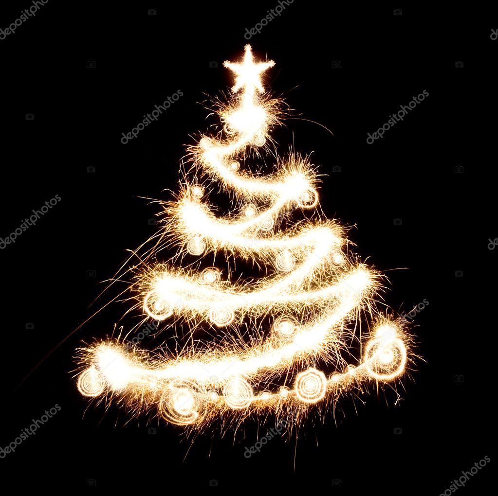 New year tree created from sparks. Isolated on black. — Stock Photo #1714819