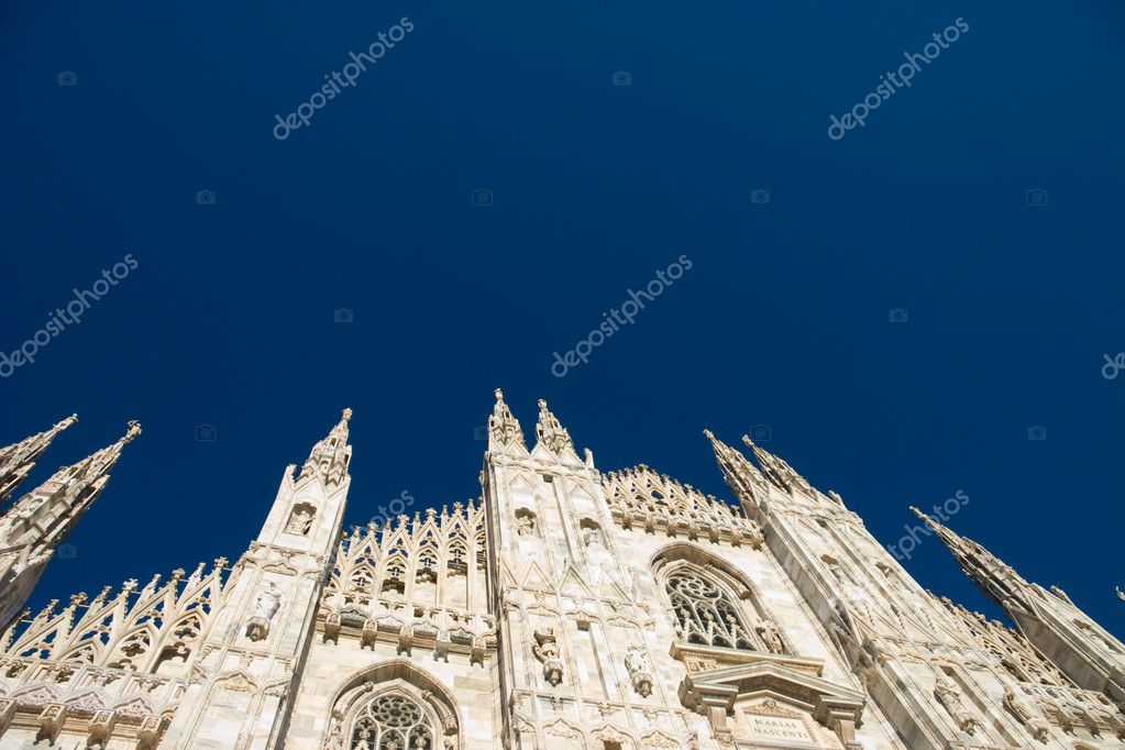 Main cathedral in Milan Italy. Dark blue sky and space for any text.  Stock Photo #1714864