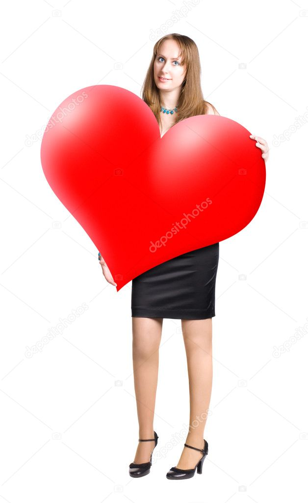Young woman holding big heart shape in hands. Isolated on white.  Foto de Stock   #1715107