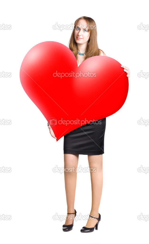 Young woman holding big heart shape in hands. Isolated on white. — Stock Photo #1715107