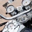 Classic motorcycle chrome parts closeup — 图库照片
