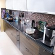 Modern kitchen wide angle view - Stock Photo