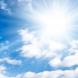 Blue sky with bright sun — Stock Photo