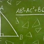 Famous geometry theorem on blackboard — Stock Photo