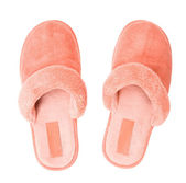 Pink slippers top view — Stock Photo