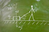 Physical problem sketch on blackboard — Stock Photo