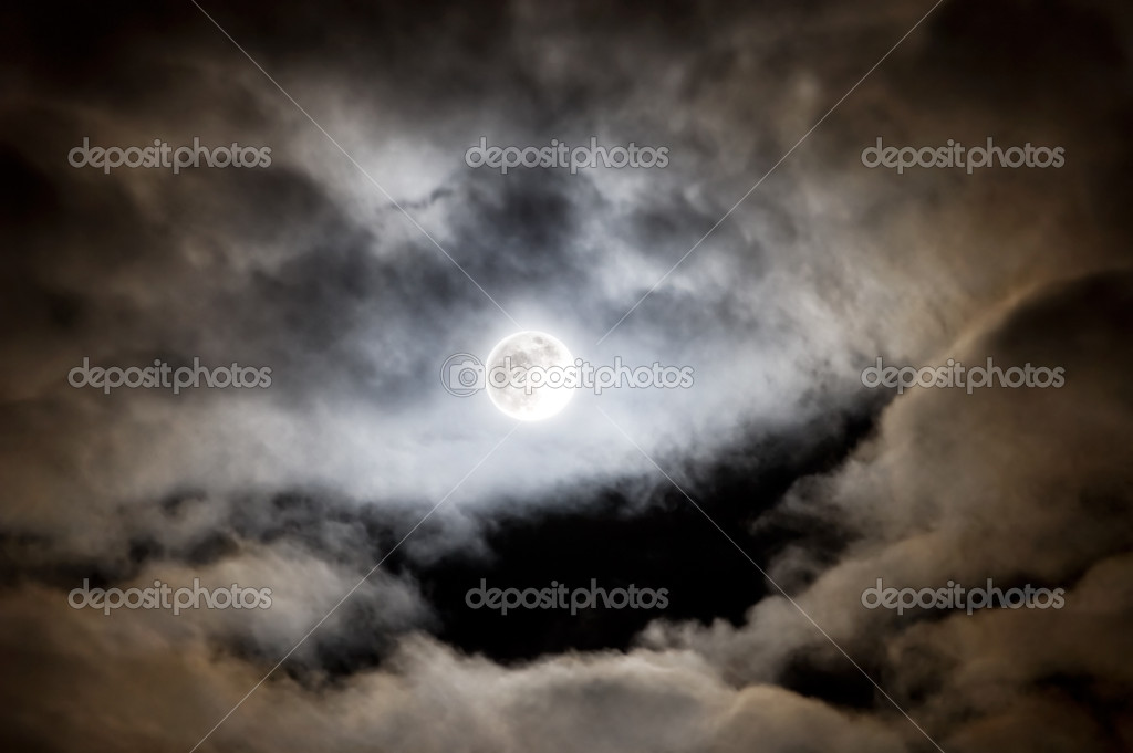 Bright full moon and clouds.  Stock Photo #1730675
