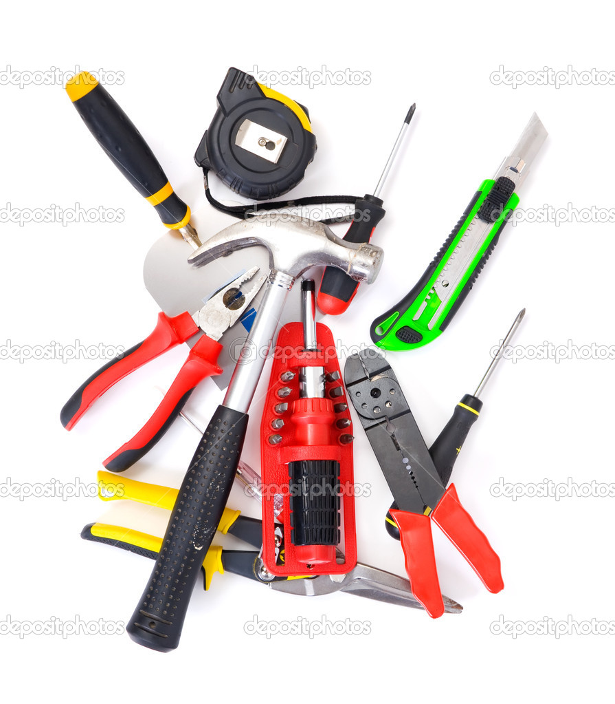 Big set of construction tools. Isolated on white. — Stock Photo #1730816