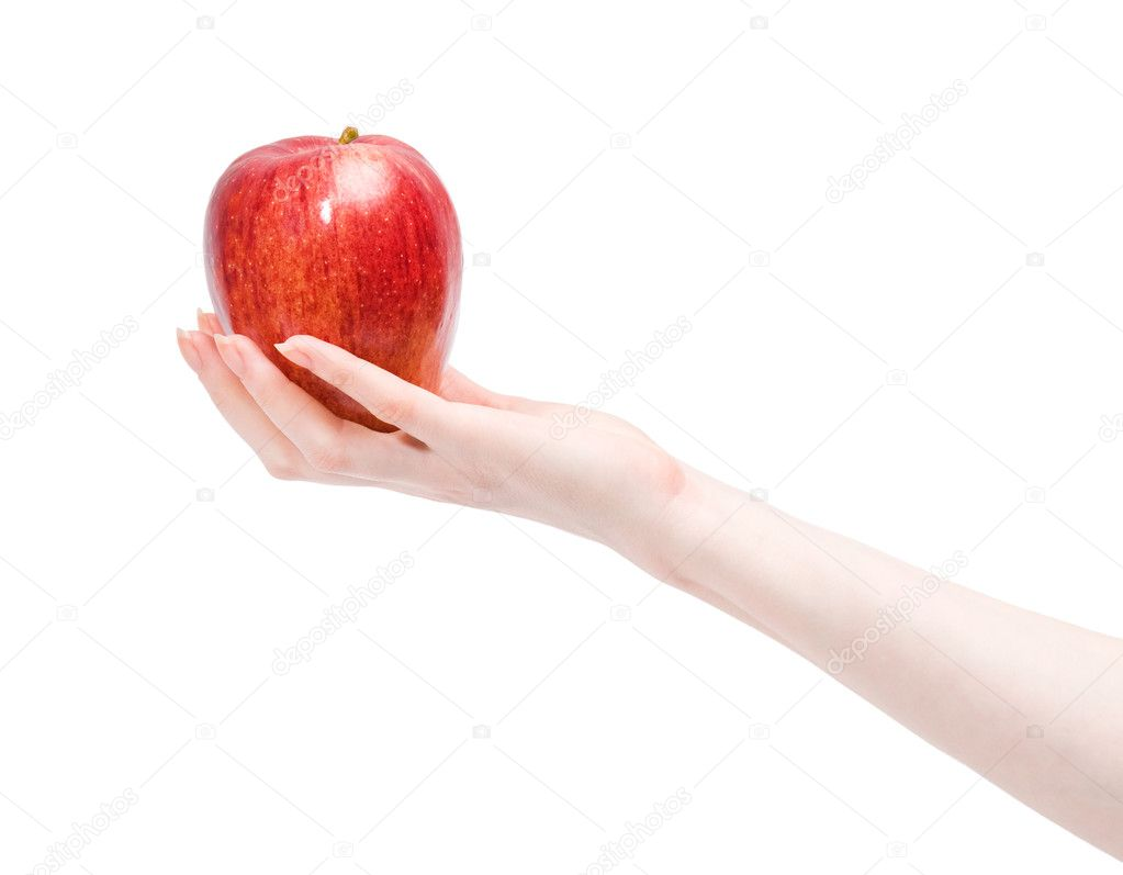 Woman Hand Holding Phone Woman Hand Holding Red Apple
