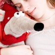 Young tender girl sleeping with her toy — Stock Photo #1751843