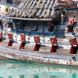 Old military ship with cannons - Foto Stock