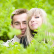 Royalty-Free Stock Photo: Young couple look out of green bushes