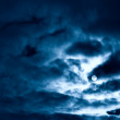 Night moon and clouds — Stock Photo