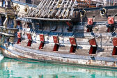 Old military ship with cannons — Stock Photo
