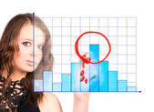 Young woman drawing maximum on diagram — Stock Photo