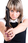 Dangerous woman with knife — Stock Photo