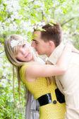幸福的夫妻在樱桃树花 — 图库照片