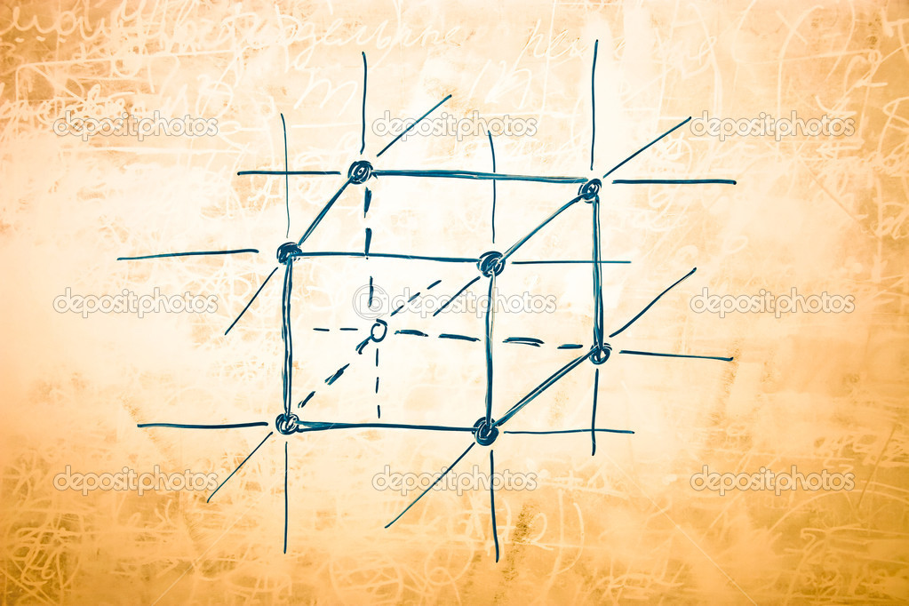 Lattice of metal in atomic physics. Sketch on blackboard. — Stock Photo #1751841