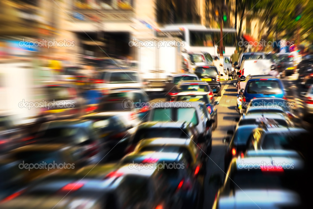 Traffic jam. Zoom blur effect. — Stock Photo #1751904
