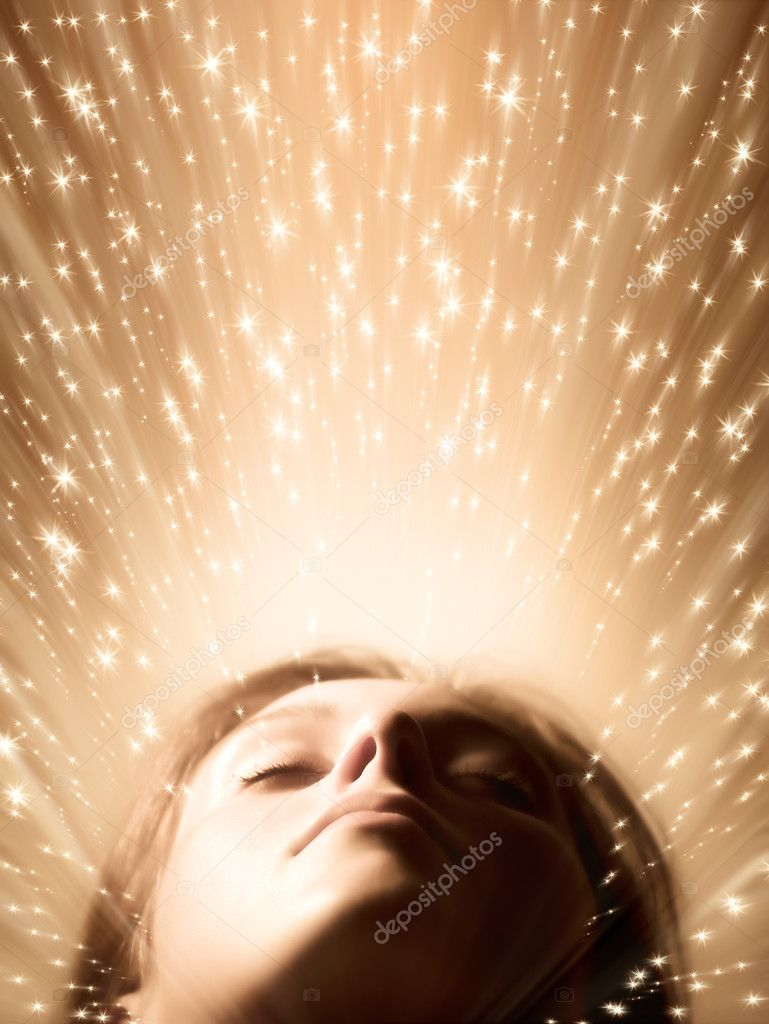 Sleeping woman face. Fairy stars, red tint and soft focus. — Stock Photo #1751933
