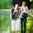 Two girls rejoice to rainy weather — Stock Photo #1801218